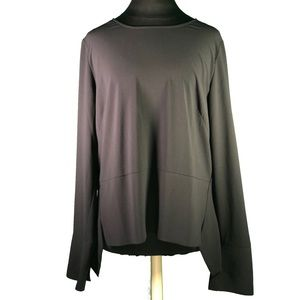 Halogen Long Sleeve Back Zip Flared Hem Blouse